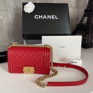 Chanel Small Boy 15A Red GHW